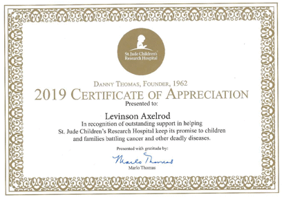 2019 Certificate of Appreciation
